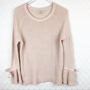 LOFT Pink Bow Flare Sleeve Marled Sweater Large
